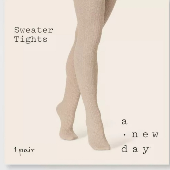 Cable Knit sweater tights in Oatmeal lg Xl